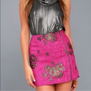 Free People Pink Gold Chenille Stencil Miniskirt 2